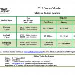 2019 Course Calendar Dates